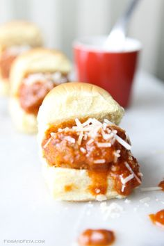 Sausage Sliders with Cinnamon Red Sauce. Quick, easy, delicious.