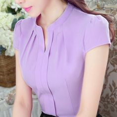 Elegant V-Neck Formal women blouse summer OL fashion slim short sleeve chiffon shirt office ladies plus size tops Lavender White