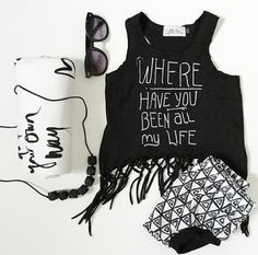 """""""Where Have You Been"""" Fringe Tank & Geo Bummies™   Little Adi + Co   #mylittleadi   Click link to shop: http://www.littleadi.com/collections/tanks/products/where-have-you-been-fringe-tank"""