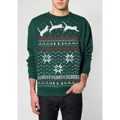 Ugly Christmas Sweater Cat Jumping in Snow Pullover Cat Sweatshirt S M... ($15) ❤ liked on Polyvore featuring tops, hoodies, sweatshirts, green sweatshirt, sweater pullover, off shoulder sweatshirt, crew neck sweat shirt and pullover sweatshirts