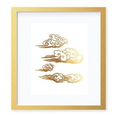 Clouds Gold Foil Art Print by Digibuddha