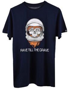 Cool EDM t-shirt for men - Rave Skull Navy Blue men printed graphics T shirt by Smokedclothing.com