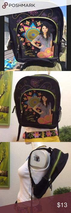 """Selena Gomez Wizards of Waverly Backpack Hipster 16""""x12""""x4.5"""" Disney Wizards of Waverly Place Selena Gomez Backpack Licensed Product 2 Padded Adjustable Straps 1 Front Pocket Mesh Side Pockets Teenage Selena Gomez with Fun Background Design In excellent pre owned condition Disney Bags Backpacks"""