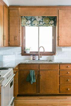 60s Kitchen, Kitchen Nook, Updated Kitchen, Vintage Kitchen, Kitchen Cabinets, Kitchen Ideas, Stained Wood Trim, Home Renovation, Retro Renovation
