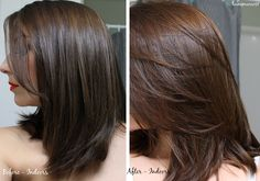 Lush Caca Rouge Henna Hair Dye - Before and After - On Dark Hair