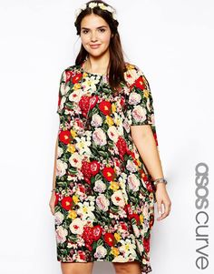 ASOS Curve | ASOS CURVE Exclusive Dress With Asymmetric Hem In Vintage Floral at ASOS