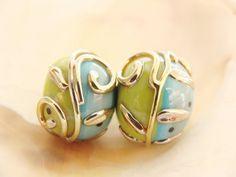 Turquoise-Green Handmade Lampwork Pair