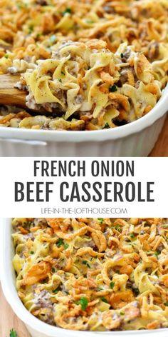 Onion Casserole, Beef Casserole Recipes, Casserole Dishes, Meat Recipes, Crockpot Recipes, Ground Beef Casserole, Recipies, Onion Recipes, Delicious Recipes