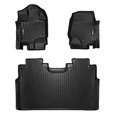 MAXFLOORMAT Floor Mats 2 Row Set Black for 2015-2018 Ford F-150 SuperCrew Cab With 1st Row Bucket Seats #MAXFLOORMAT #Floor #Mats #Black #Ford #SuperCrew #With #Bucket #Seats