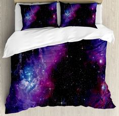 Ambesonne Space Duvet Cover Set, Nebula Dark Galaxy with Luminous Stars and Cosmic Rays Astronomy Explore Theme, Decorative 2 Piece Bedding Set with 1 Pillow Sham, Twin Size, Purple Blue Theme Galaxy, Galaxy Decor, Twin Size Duvet Covers, Duvet Cover Sets, Bedroom Themes, Bedroom Decor, Bedrooms, Bedroom Girls, Galaxy Bedding