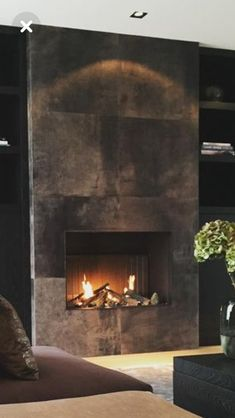 Terrific Snap Shots Contemporary Fireplace tile Tips Modern fireplace designs can cover a broader category compared for their contemporary counterparts. Fireplace Tv Wall, Basement Fireplace, Fireplace Remodel, Fireplace Inserts, Modern Fireplace, Living Room With Fireplace, Fireplace Surrounds, Indoor Gas Fireplace, Concrete Fireplace