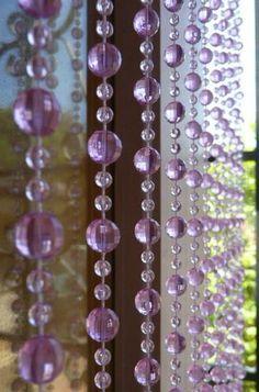 6u0027 Beaded Curtain    Lavender    Light Purple Mini Balls