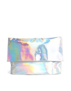 Large foldover hologram clutch is an eye-catching accessory must have!