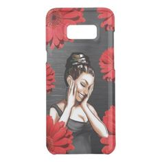 Retro Pinup Girl Laughing Red Daisy Flowers Uncommon Samsung Galaxy S8 Case - vintage gifts retro ideas cyo