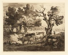 Wooded Landscape with Herdsman and Four Cows (c. 1785-88)