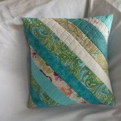 Exquisite Spring strip quilted pillow cover, handmade quilted pillow sham, quilted patchwork pillow, quilted blue and from OhSherryQuilts on Etsy. Patchwork Pillow, Patchwork Patterns, Quilted Pillow, Green Pillow Covers, Cushion Covers, Throw Pillow Covers, Aqua Throw Pillows, Green Pillows, Aqua Quilt