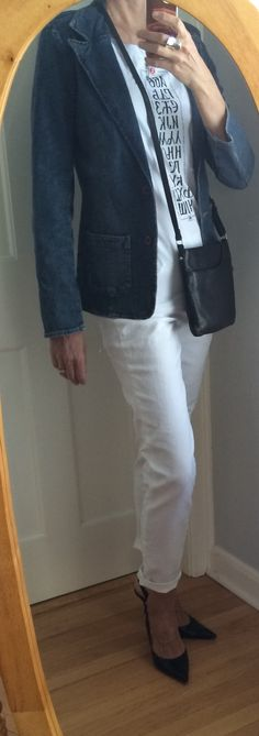 All white and a denim jacket with heels for going out