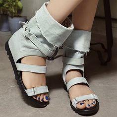 33.37$  Buy now - https://alitems.com/g/1e8d114494b01f4c715516525dc3e8/?i=5&ulp=https%3A%2F%2Fwww.aliexpress.com%2Fitem%2Fsummer-boots-Gladiator-hollow-out-Sandals-Women-Motorcycle-Boots-Denim-Ladies-Flats-Knee-High-boots-Fashion%2F32382777858.html - summer boots Gladiator hollow out Sandals Women Motorcycle Boots Denim Ladies Flats Knee High boots Fashion