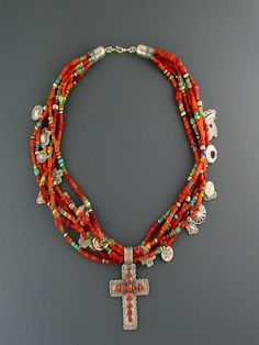 Don Lucas Red Coral Treasure Necklace Coral Jewelry Tribal Jewelry, Turquoise Jewelry, Boho Jewelry, Jewelry Crafts, Jewelry Art, Gemstone Jewelry, Beaded Jewelry, Jewelery, Handmade Jewelry