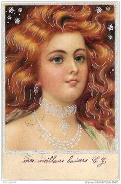 Illustrators & photographers - Portrait de femme ( gaufré, argentée ) ( ILL )
