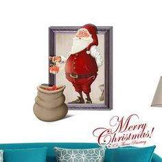 New Year 3D wall stickers home decor Christmas Santa Claus Presents PAG Wall Decals Sticker adesivo de parede
