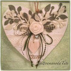 Cuore di legno sbiancato con rosa di lino e cuore di legno, by fattoamanodaTati, 26,00 € su misshobby.com