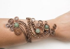Antique Copper Wire wrapped forearm cuff Handmade bracelet
