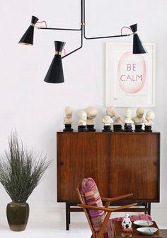 black midcentury chandelier