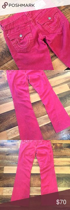 True Religion Women's Joey Corduroy Flare Pants 30 You are looking at a pair of women's True Religion   red corduroy Joey pants. These pants are a size 30x33. Made in the USA. Waist measures 34 inches. The inseam is 33 inches. The hips measure 21 inches. Excellent condition with no flaws.  Cotton and spandex.   Comes from a smoke free and pet free home. View my shop for more great listings. Please feel free to message me with any additional questions. True Religion Pants Boot Cut & Flare