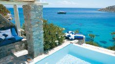 Junior Suite Private Pool in Psarou beach | Mykonos Blu Luxury Hotel