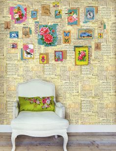 love this for one accent wall!  book pages on wall