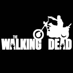 "The Walking Dead Daryl on Motorcycle 8"" Vinyl Decal Sticker White 