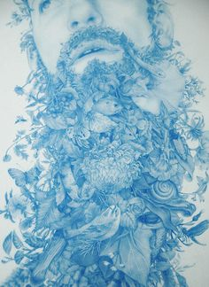 """Zachari Logan, from the """"Wilderness Tips"""" series, which focuses on the human figure as a blooming landscape. Detail of """"Wild Man 2"""", blue pencil on mylar, 2012"""