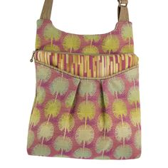"""Maruca Busy Body handbag in Dandelion.  The sling with a boho vibe. Soft adjustable custom strap. Interior with small pocket. Open exterior pocket for quick access. 9"""" x 9.5"""" x 2"""" Strap drop length: 12"""" - 24"""" Web strap width: 1"""" Handmade in Boulder, CO. Shop The Handbag Store in store at 253 Main St, Hill City SD or online at www.shopthehandbagstore.com."""