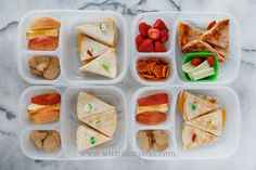 Quesadillas (one with turkey), apples, and cinnamon sugar cookies. Packed in  Easy Lunchboxes .