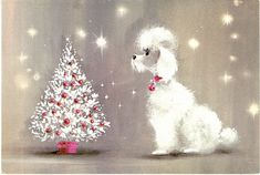 Poodle with White & Pink Tree