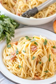 Authentic Pasta Carbonara recipe is a simple pasta dish in a cheesy egg sauce with lots of bacon and fresh ground black pepper. It's easy, yet elegant! Easy Chicken Recipes, Pasta Recipes, Beef Recipes, Cooking Recipes, Meatball Recipes, Meatloaf Recipes, Shrimp Recipes, Salmon Recipes, Potato Recipes