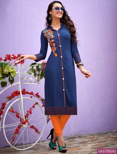 Wear it, Feel it, Experience it & amaze everyone with this new attire in the Town. Embroidered Kurti, Ladies Day, Salwar Kameez, Blue Orange, Women Wear, Shirt Dress, Lady, Casual, Cotton