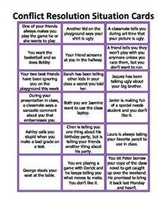 Includes 18 situation cards to be used for a conflict resolution lesson. See mine lesson I use these with here: https://www.teacherspayteachers.com/Product/Conflict-Resolution-Powerpoint-Olive-Branch-2773244, or could be used with my Zax lesson.