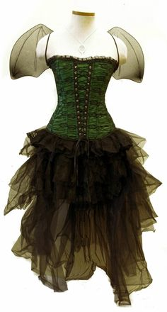 The Green Fairy Set at Goodgoth. Green corset with black mini skirt and long tulle overskirt Faerie Costume, Fairy Halloween Costumes, Halloween Makeup, Renaissance Fairy, Steampunk Dress, Steampunk Outfits, Steampunk Fairy, Victorian Steampunk, Victorian Costume