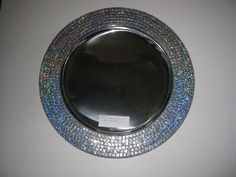 STAINLESS STEEL CHARGER PLATE WITH SILVER SEQUIN BORDER