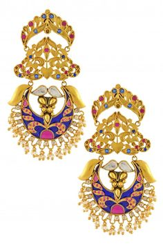 Silver Gold Plated Multi Crystal Floral Enamel Chand Pearl Earrings #Indian #Jewellery