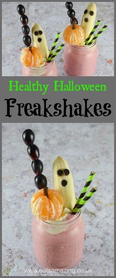 Fun and easy Healthy Halloween Freakshake recipe with Spooky Fruit Toppers - with video tutorial - Eats Amazing UK #HalloweenFood #Freakshake #Milkshake #KidsFood #FunFood #FoodArt #Halloween