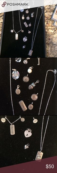 """Origami owl various charms and chains. 18 various charms and 2 chains.  Includes crystals, pearls, letters, """"MOM"""", """"blessed"""", """"good luck"""", """"family"""", heart locket, key, """"life is a gift"""", and 2 silver chains. origami owl Jewelry Necklaces"""