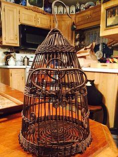Antique Victorian Metal Woven Bird Cage,rare