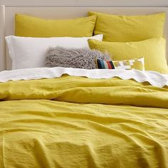 Belgian Flax Linen Duvet Cover + Shams #westelm//OTHER COLORS AVAILABLE!