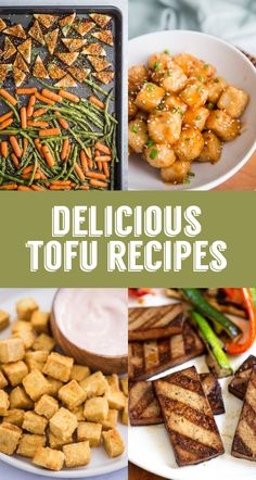 The BEST Tofu Recipes Around - Asiatische rezepte Tofu Dinner Recipes, Best Tofu Recipes, Vegetarian Recipes Easy, Vegan Dinners, Healthy Recipes, Tofu Meals, Gout Recipes, Healthy Dinners, Crockpot Recipes