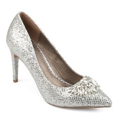 d8d198cc41ee Journee Collection Albie Women s High Heels Silver Glitter Heels