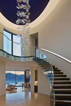 Entry Tower and Sweeping Views Over San Francisco Bay Defining The Belvedere Residence Railing Design, Staircase Design, Style At Home, Modern House Design, Modern Interior Design, Modern Stairs, Interior Stairs, House Entrance, Modern Entrance