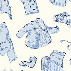 DUDS, Blue on White, T5129, Collection Small Print Resource 2 from Thibaut